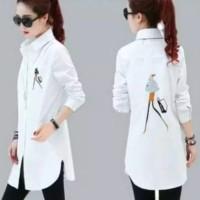 kemeja putih hem shirt atasan wanita tunik blouse bluss tunic muslim