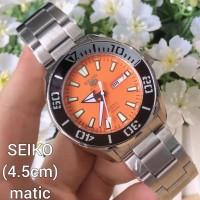 Jam Tangan Pria Seiko Silver Dial orange Automatic Full set box ori