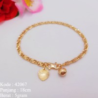 Missi Jewelry Gelang Tangan Rantai Gepeng Rose Gold Lapis Emas Xuping