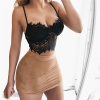 FLID Sexy Lace Padded Bra Crop Tops Summer Strappy Bustier Bralette