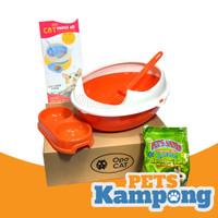 Cat Starter Kit / Bak pasir kucing / Toilet kucing / Litter box - Orange