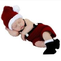 kostum foto anak bayi baby newborn costume santa impor rajut murah
