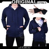 Sweater Hoodie Zipper Polos Navy Jec Motif Roundhand Full Premium