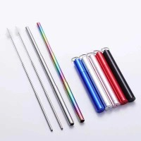 Sedotan Stainless Steel Portable / Telescopic Foldable Straw Metal Set - Blue Silver