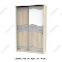 Lemari Pakaian Baju Kayu 2 Pintu Sliding Geser Jumbo - Oak
