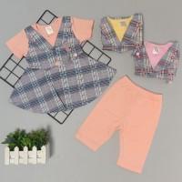 Setelan Baju Bayi-Anak - Setelan Dress Rompi Kotak