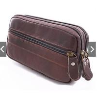 sarung hp pinggang kulit horizontal rebah coklat 5 5,5 6 inch