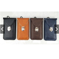 sarung hp kulit pinggang carabiner import 5 6 inch hitam cokelat biru