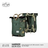 Tas Ransel Gulung Rolltop Laptop Travel Bag - ATVA Harrier Black Olive