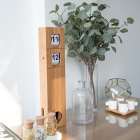 UCHII Bamboo Auto Flipped Clock Pendulum Vintage / Jam Dinding Natural
