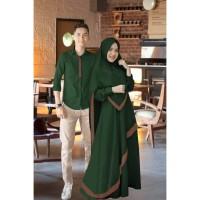 couple syari Caca hijau baju muslim pasangan gamis kemeja cp cal vt