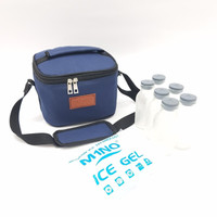 Paket Hemat Cooler Bag + Ice Gel + Botol ASI 6 pcs - Biru Navy