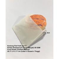 Kantong Flat Kantong Kertas Putih 11x4x11 (S) Anti Minyak Greaseproof