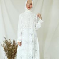 Gamis Brukat Impor Putih / Baju Muslim / Dress Muslim Putih #242 - Putih Tulang, M