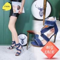 Big SaleSepatu High Heels Ujung Lancip Bahan Denim Warna Polos dengan
