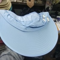 Topi pantai wanita import/ topi fashion anti UV gulung - Biru Muda