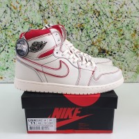 SEPATU NIKE AIR JORDAN 1 RETRO PHANTOM GYM RED UNAUTHORIZED AUTHENTIC - Putih