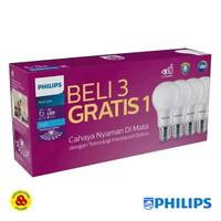 Philips Lampu LED Mycare 6W Paket Bohlam LED Bulb 6 Watt isi 4 Putih