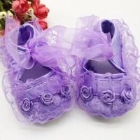 Sepatu Bayi Import Prewalker Shoes Anak Perempuan Mawar Renda Pita