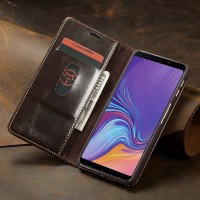 Samsung Galaxy A7 2018 Leather Case Casing Kulit Flip Cover Caseme - Cokelat