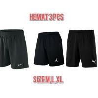 [ Hemat 3 pcs ] Celana pendek pria olahraga sport santai GO hitam