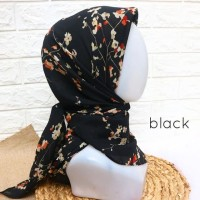 kerudung jilbab hijab segiempat motif bunga abstrak polycotton voal