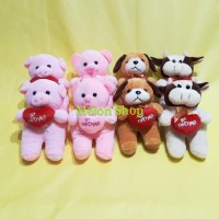 Boneka Mini Lempar Wedding 4 Motif Dog Bear Pig Cow Yelvo SNI