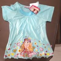 baju kaos anak perempuan barbie hijau kacamata 8 dan 10 thn
