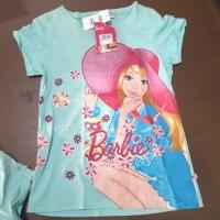 baju kaos anak perempuan barbie hijau topi 8 dan 10 thn