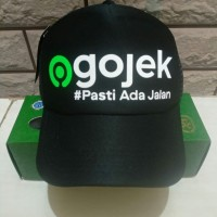 Topi Gojek Logo Baru #Pasti ada Jalan - Trucker Jaring Hitam - Murah