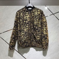 CHANELL BOMBER JACKET / VARSITY PRINT BLACK GOLD UNISEX 1:1 AUTHENTIC - Hitam