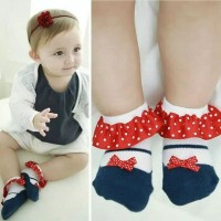 Kaos Kaki Motif Hiasan pita Untuk bayi Perempuan baby girl sock import