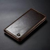 Samsung Galaxy A50 Leather Case Casing Kulit Flip Cover Caseme - Cokelat