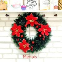 New Krans Lingkar Bunga Merry Christmas Dekorasi Natal Krans Pintu