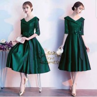 DRESS ESMERALDA PARTY DRESS BRUKAT HIJAU GAUN PESTA TERBARU MIDI DRESS