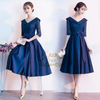 DRESS ESMERALDA PARTY DRESS BRUKAT NAVY GAUN PESTA TERBARU MIDI DRESS