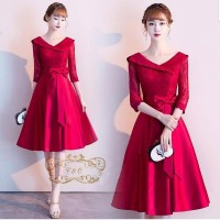 DRESS ESMERALDA PARTY DRESS BRUKAT MERAH GAUN PESTA TERBARU MIDI DRESS