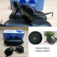 kacamata frame retro ringan + lensa minus warna hitam
