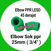 "elbow pipa / Elbow PPR LESO 45 derajat / keni Elbow 25mm atau 3/4"" ppr"