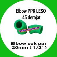 "elbow pipa / Elbow PPR LESO 45 derajat / keni Elbow 20mm atau 1/2"" ppr"