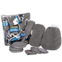 9 Pcs Car Wash Microfiber Set / Kain Lap Cuci Mobil Premium Quality