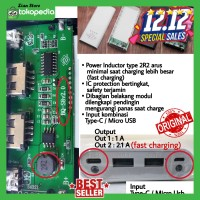 Modul Mesin Case Power Bank Powerbank USB Type C 2 Output LCD 8x18650 - Hitam
