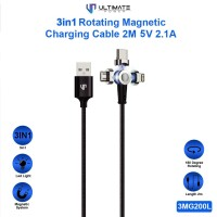 Ultimate 3in1 Rotating Magnetic Charging KABEL 2M 5V 2.1A 3MG200L