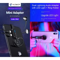 Ultimate Dual Lightning Audio Adapter with LED Light + Ring Holder