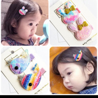 Set 2pcs Jepit rambut Gradasi korea utk baby girl/anak perempuan