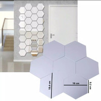 Hiasan Dinding / Sticker Cermin Besar / Wall Mirror Hexagonal 18cm