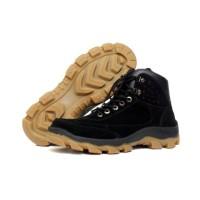 sepatu kulita pria LERIO Black Sepatu Safety Ujung Besi PDL PDH Kulit