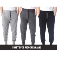 [Paket 3 pcs] Celana Jogger Panjang polos - 3 Warna Pilihan -