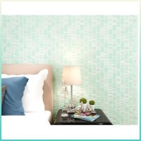 Wallpaper Non Embossed Woven 3d Plain 53cmx10m Ephedra Mosaic Green
