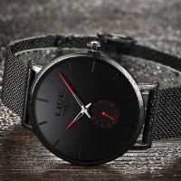 Man Watch LIGE Jam tangan Rantai black series underwatter - Jarum Merah